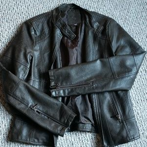 Max jeans Sexy faux leather moto jacket M